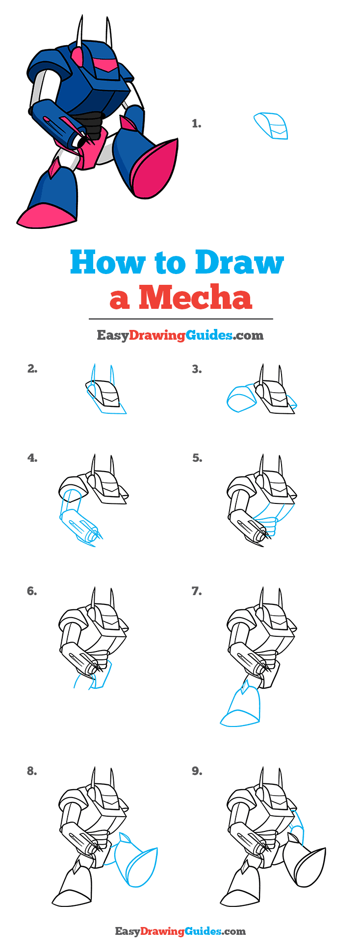 How to Draw a Mecha Step by Step Tutorial Image