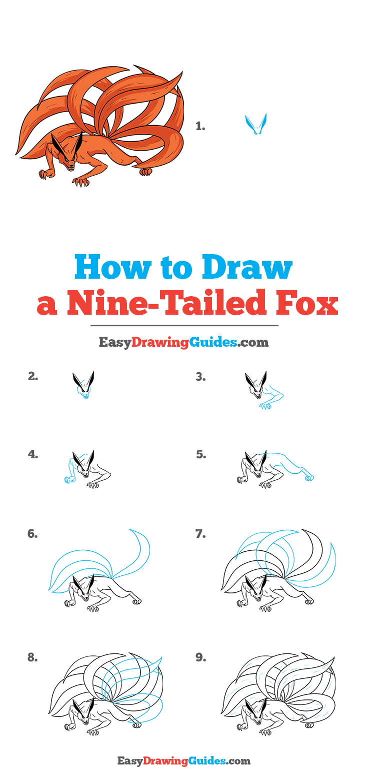 How to Draw a Nine-Tailed Fox Step by Step Tutorial Image