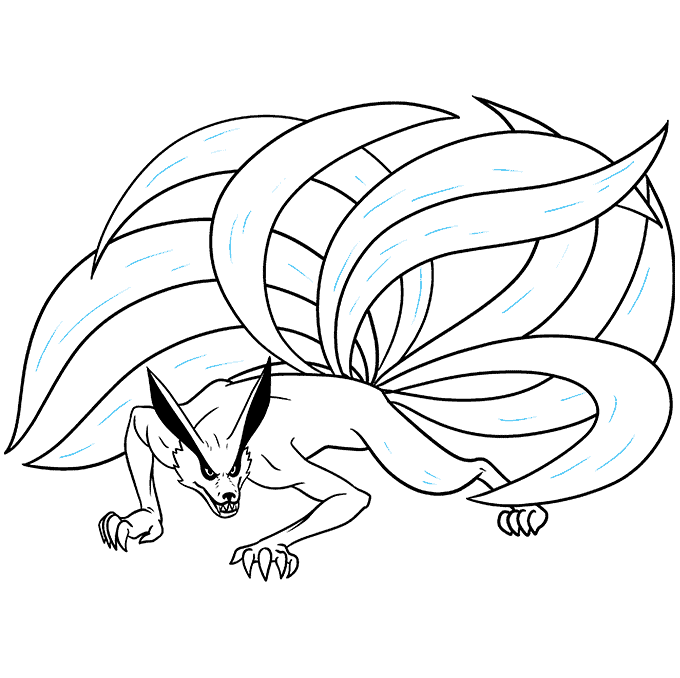 How to Draw a Nine-Tailed Fox Step 09
