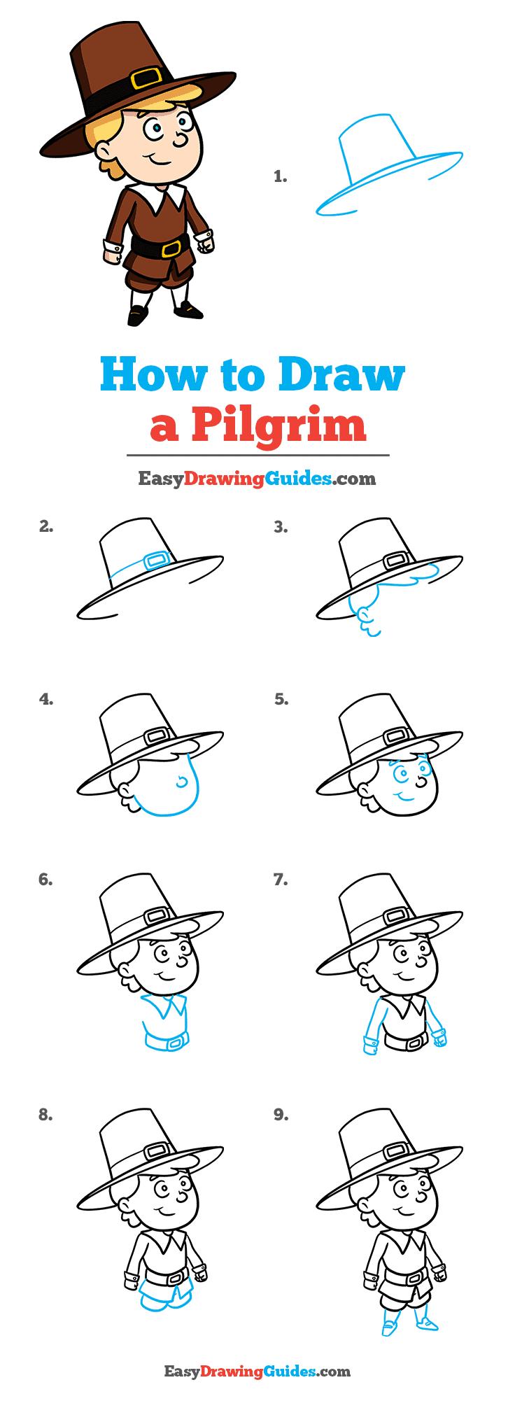 How to Draw a Pilgrim Step by Step Tutorial