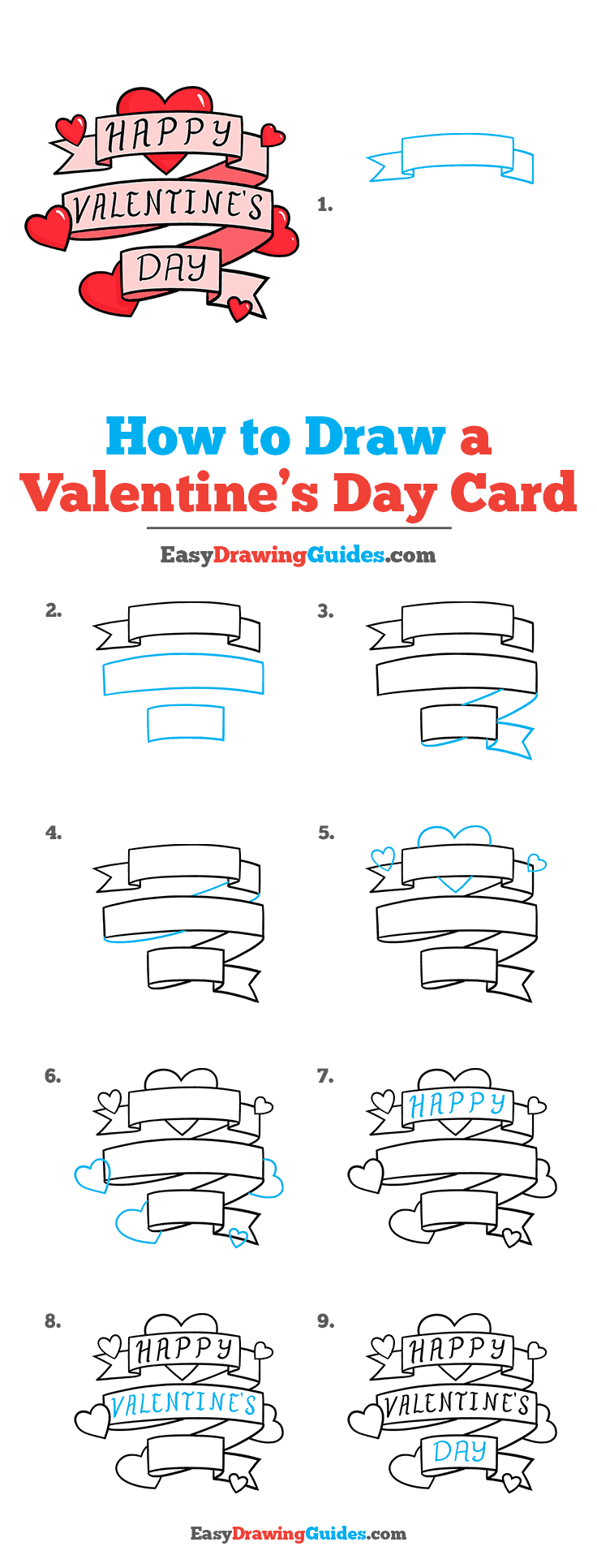 How to Draw a Valentine's Day Card Step by Step Tutorial Image