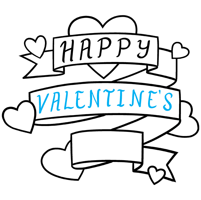 How to Draw a Valentine's Day Card Step 08