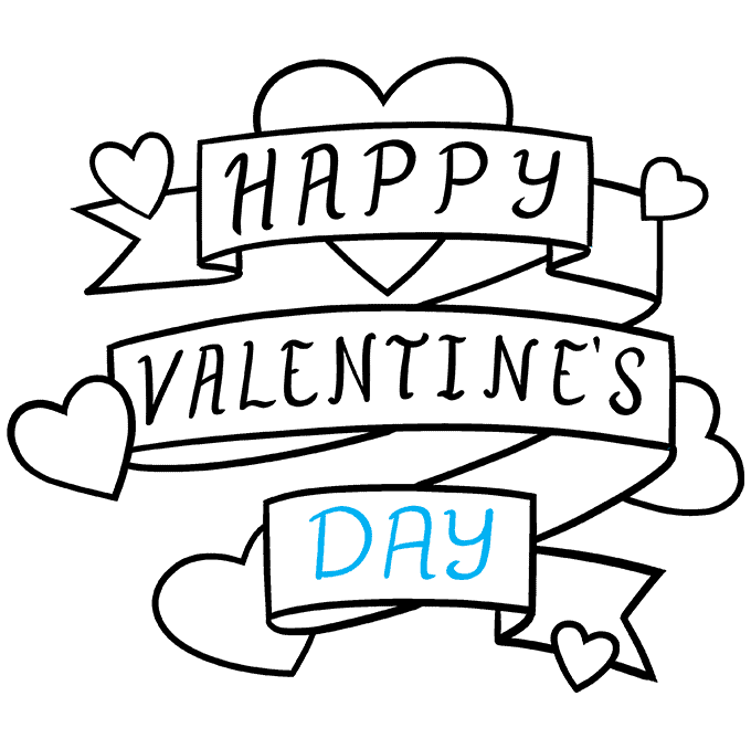 How to Draw a Valentine's Day Card Step 09