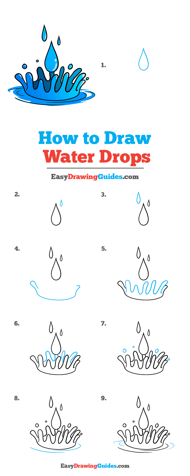 How to Draw Water Drops Step by Step Tutorial Image