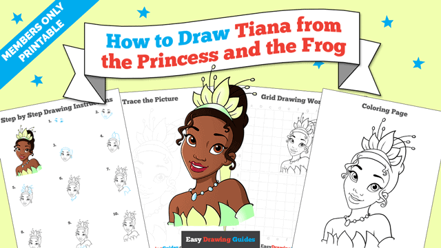 Printables thumbnail: How to Draw Tiana from the Princess and the Frog