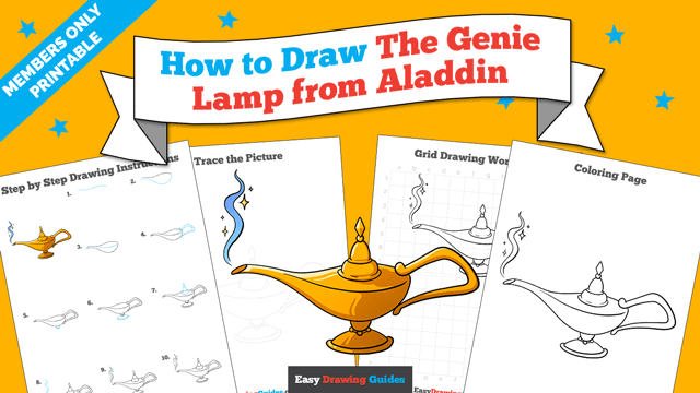Printables thumbnail: How to Draw the Genie Lamp from Aladdin