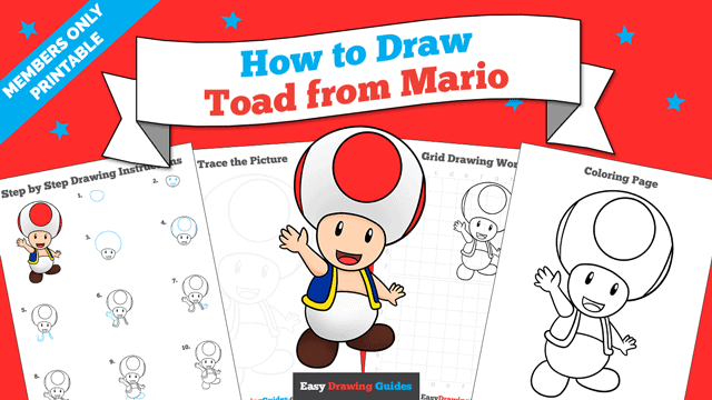 Printables thumbnail: How to Draw Toad from Mario