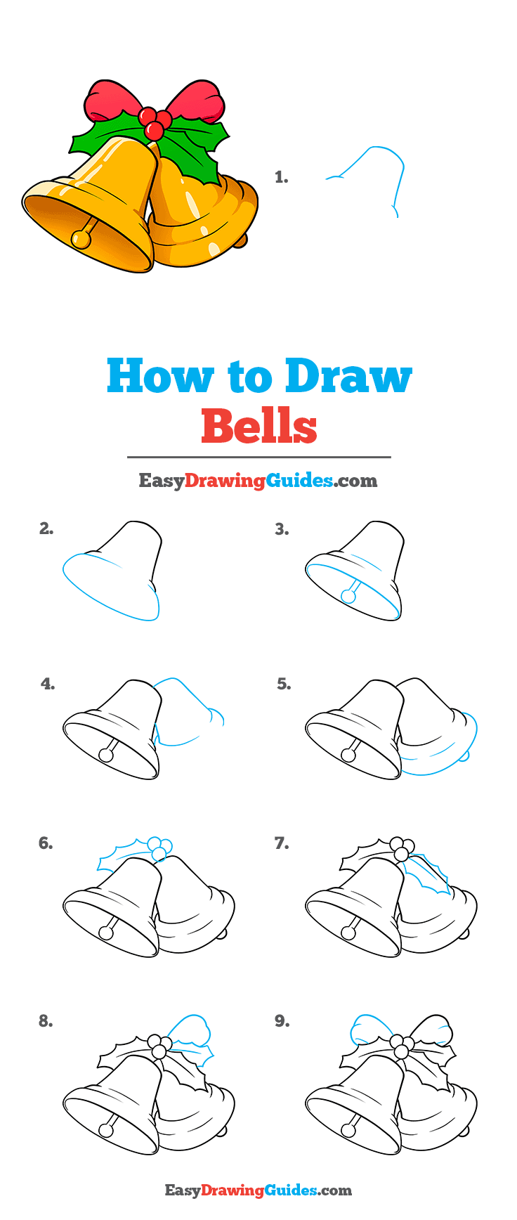 How to Draw Bells Step by Step Tutorial Image