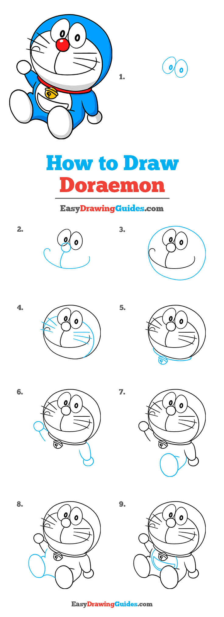 How to Draw Doraemon Step by Step Tutorial Image