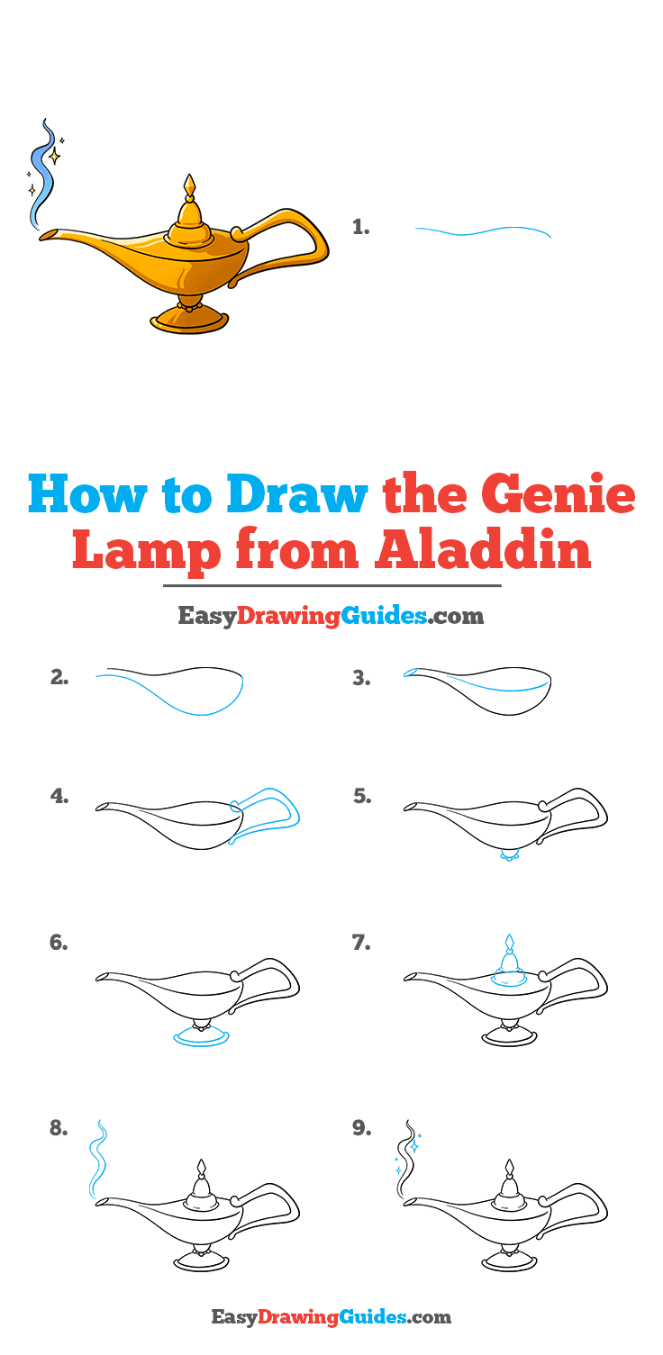 How to Draw the Genie Lamp from Aladdin Step by Step Tutorial Image