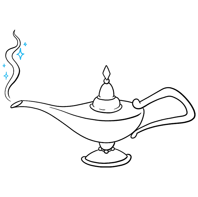 How to Draw the Genie Lamp from Aladdin Step 09