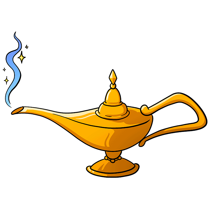 How to Draw the Genie Lamp from Aladdin Step 10