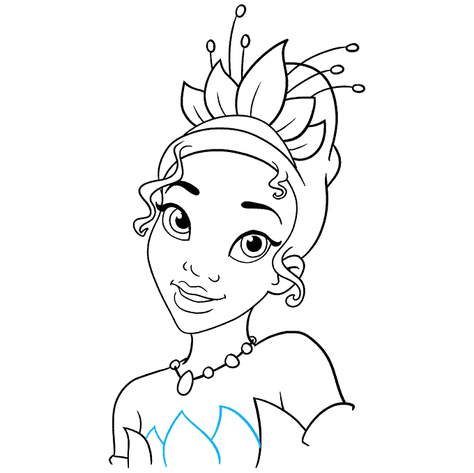 How to Draw Tiana from The Princess and The Frog Step 09
