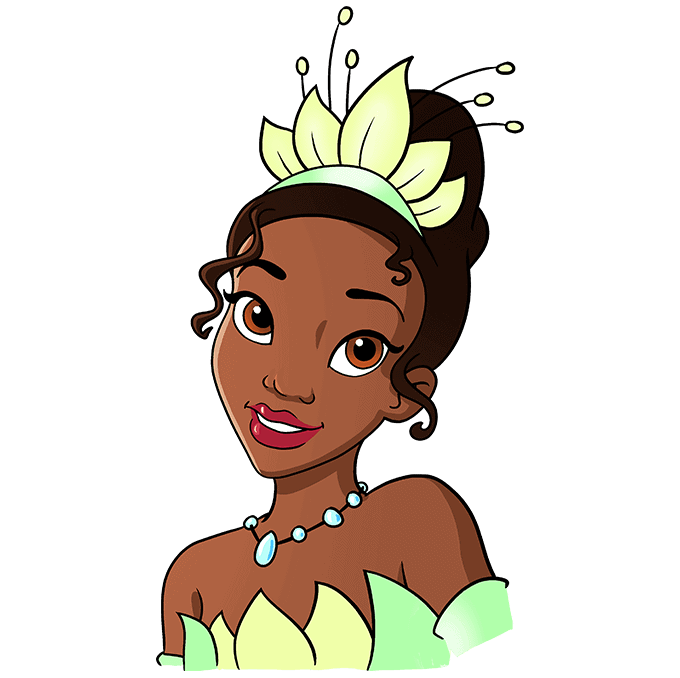 How to Draw Tiana from The Princess and The Frog Step 10