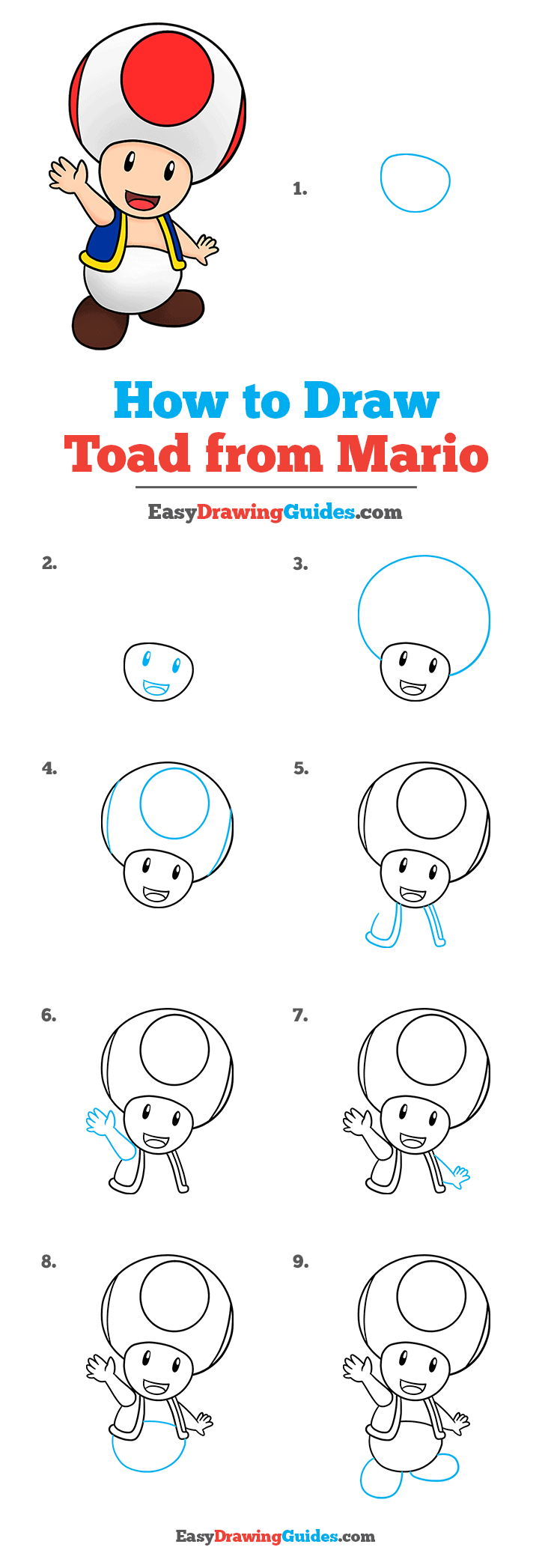 How to Draw Toad from Mario Step by Step Tutorial Image