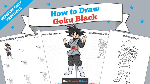 Printables thumbnail: How to Draw Goku Black