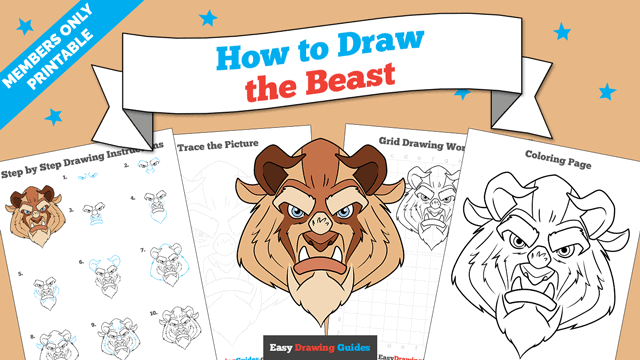 Printables thumbnail: How to Draw the Beast from Beauty and the Beast