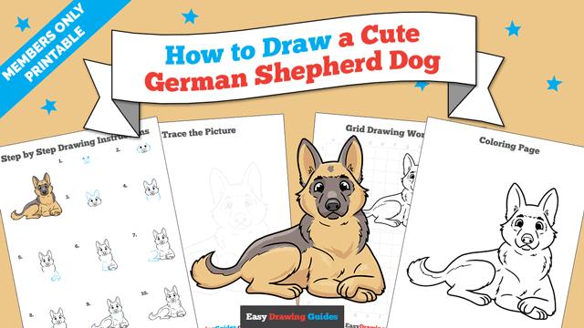 Printables thumbnail: How to Draw a Cute German Shepherd Dog