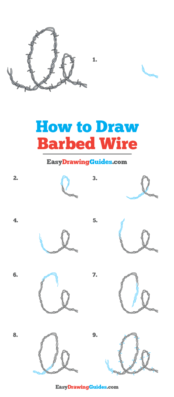How to Draw Barbed Wire Step by Step Tutorial Image