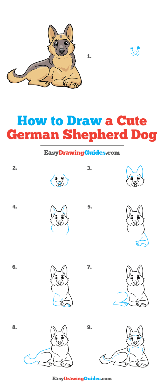 How to Draw a Cute German Shepherd Dog Step by Step Tutorial Image