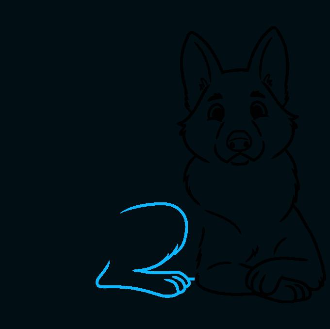 How to Draw a Cute German Shepherd Dog Step 07