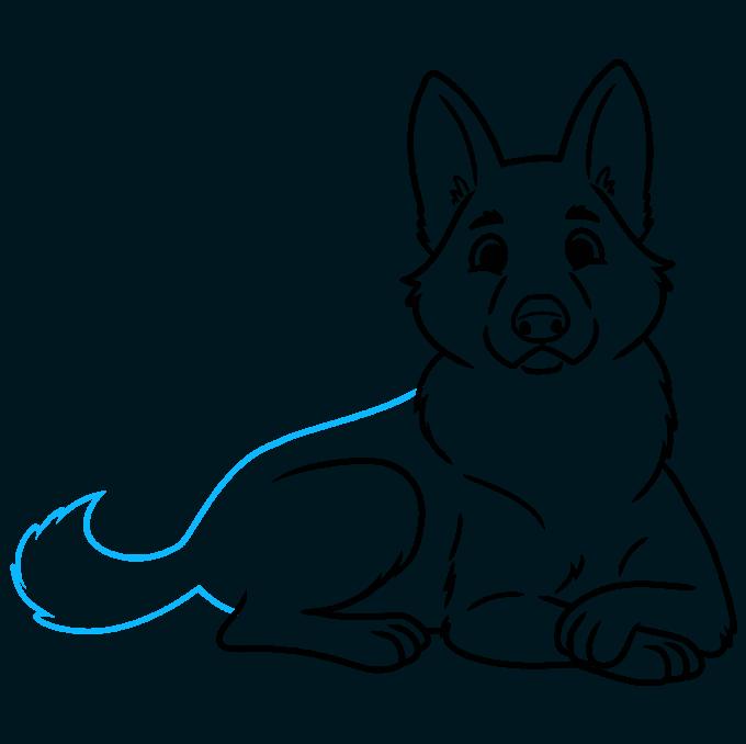 How to Draw a Cute German Shepherd Dog Step 08