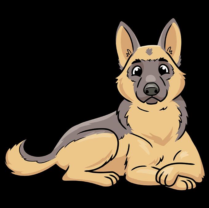 How to Draw a Cute German Shepherd Dog Step 10