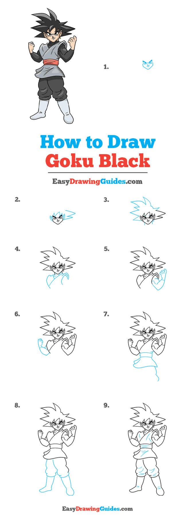 How to Draw Goku Black Step by Step Tutorial Image
