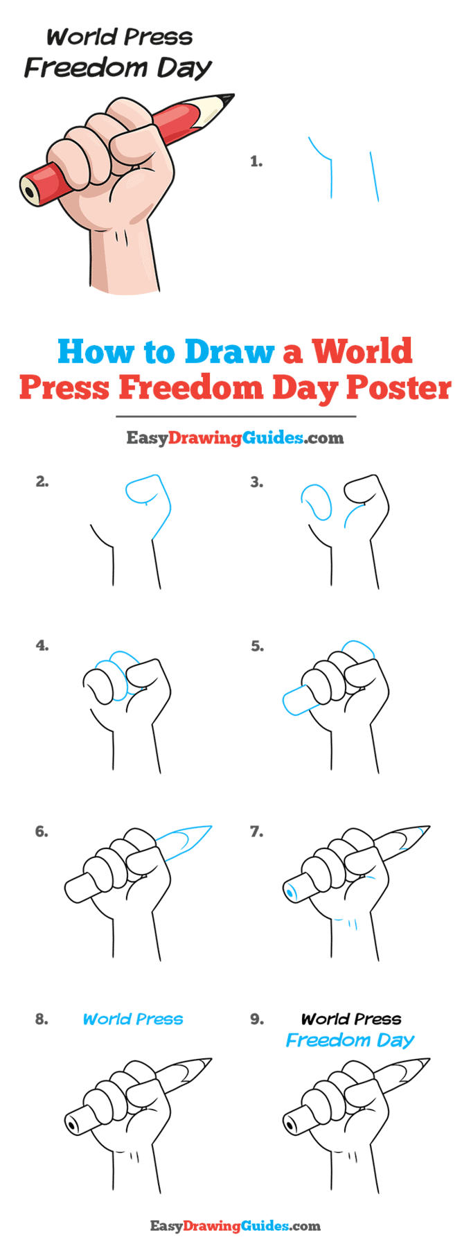 How to Draw a World Press Freedom Day Poster Step by Step Tutorial Image
