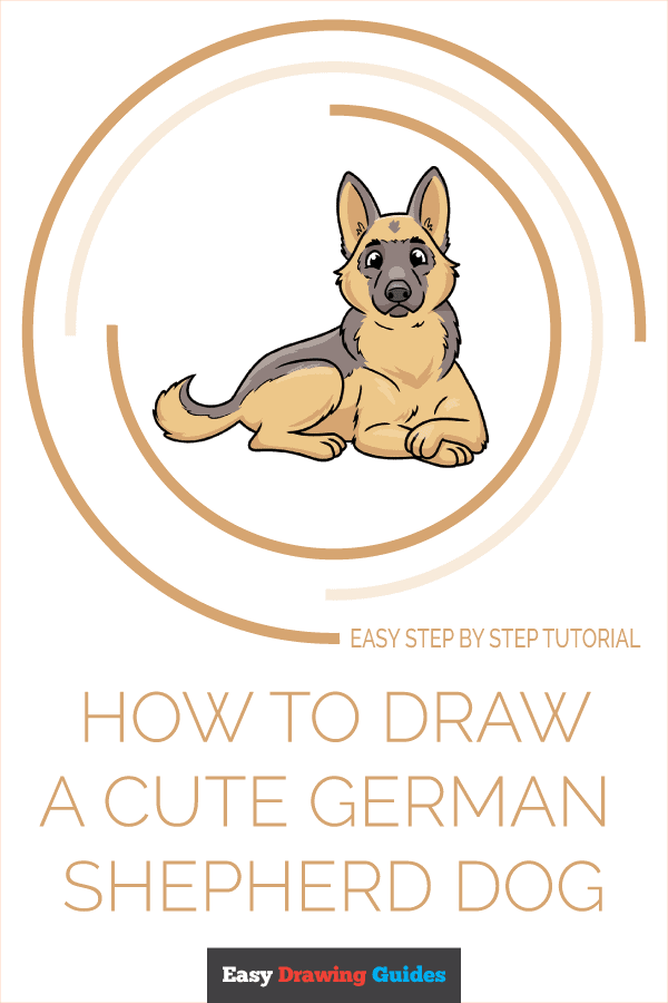 How to Draw a Cute German Shepherd Dog Pinterest Image