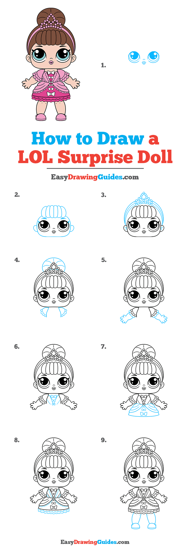 How to Draw a LOL Surprise Doll Step by Step Tutorial Image