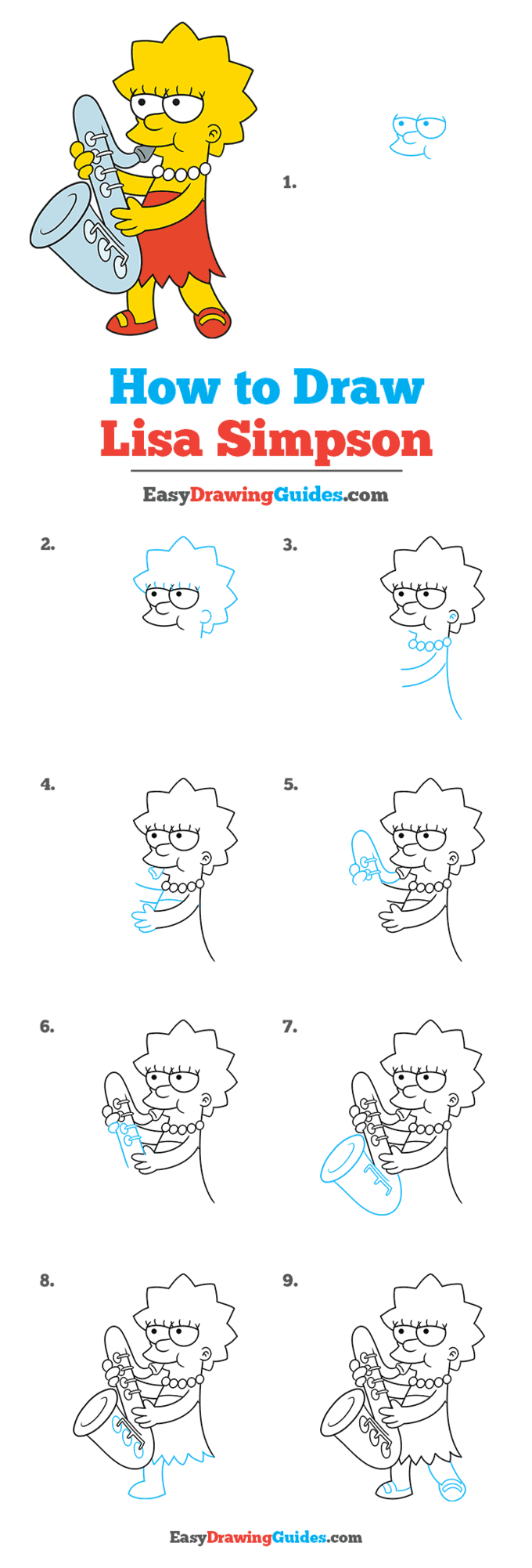 How to Draw Lisa Simpson Step by Step Tutorial Image