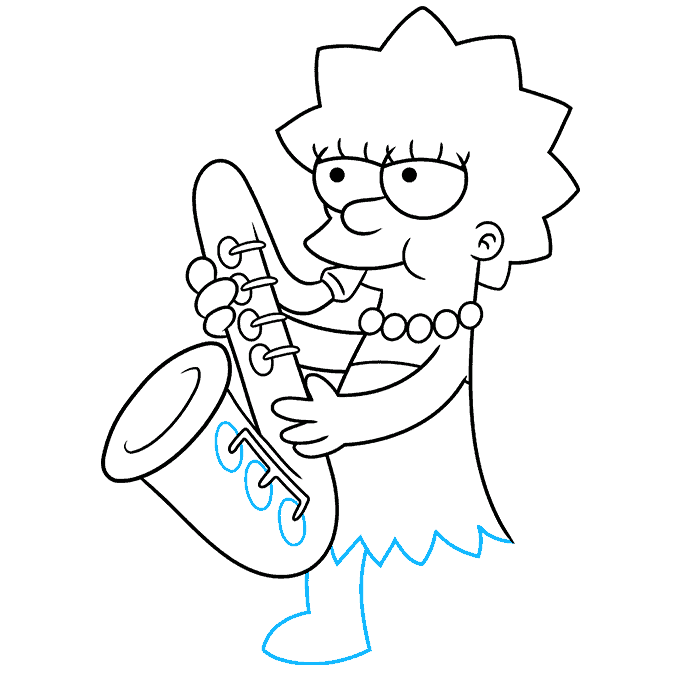 How to Draw Lisa Simpson Step 08