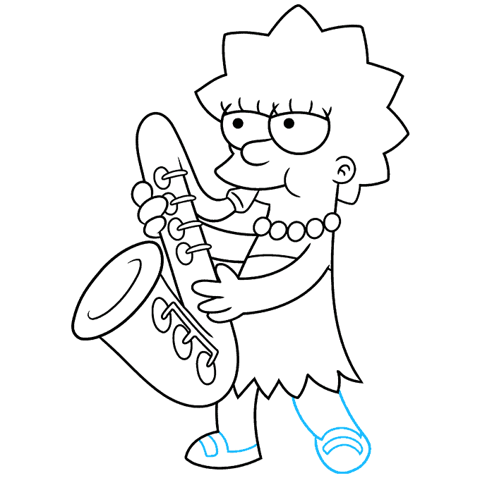 How to Draw Lisa Simpson Step 09