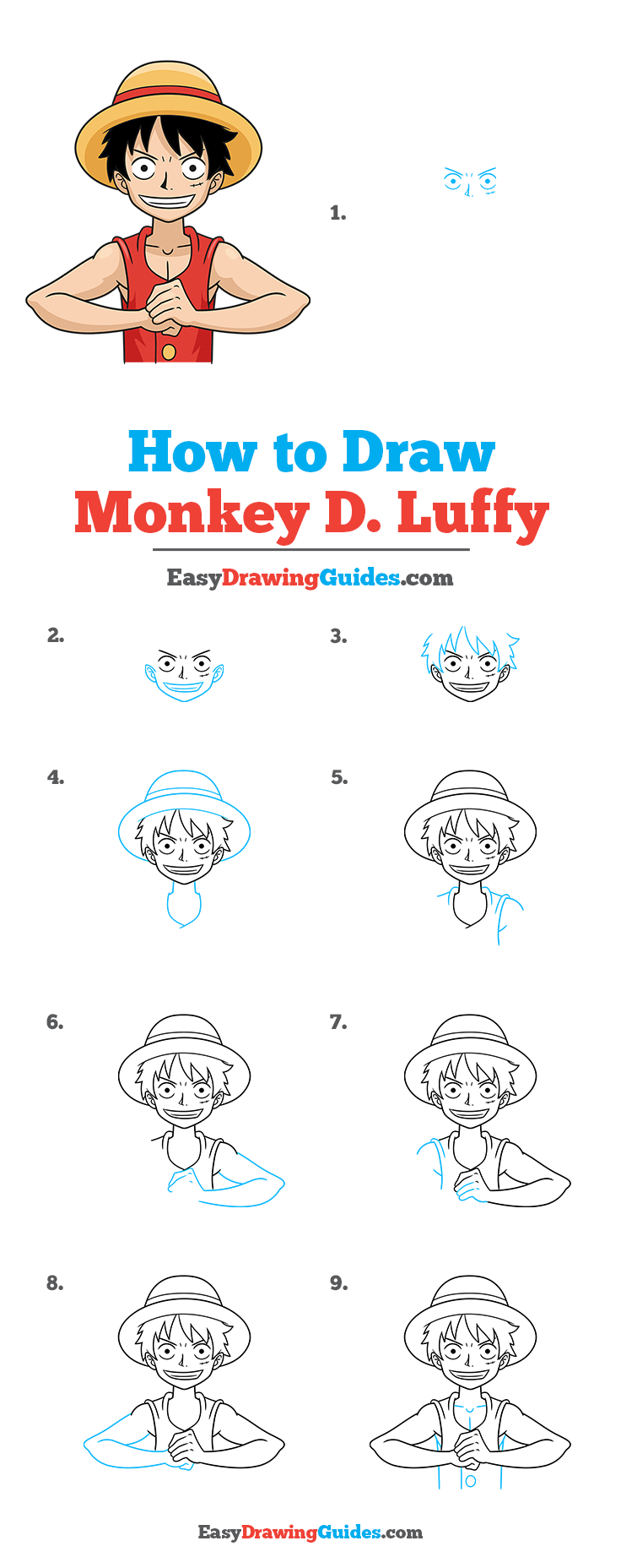 How to Draw Monkey D. Luffy from One Piece Step by Step Tutorial Image