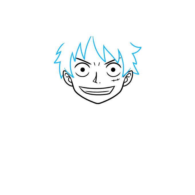 How to Draw Monkey D. Luffy from One Piece Step 03