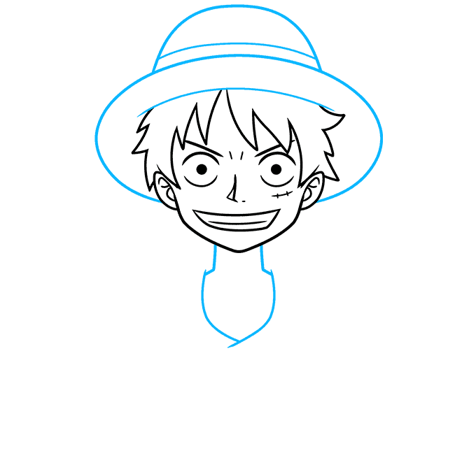 How to Draw Monkey D. Luffy from One Piece Step 04