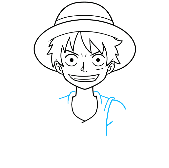 How to Draw Monkey D. Luffy from One Piece Step 05