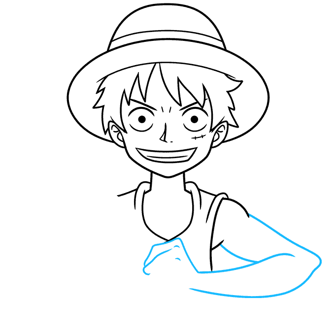 How to Draw Monkey D. Luffy from One Piece Step 06