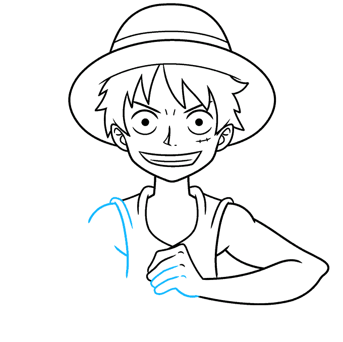 How to Draw Monkey D. Luffy from One Piece Step 07