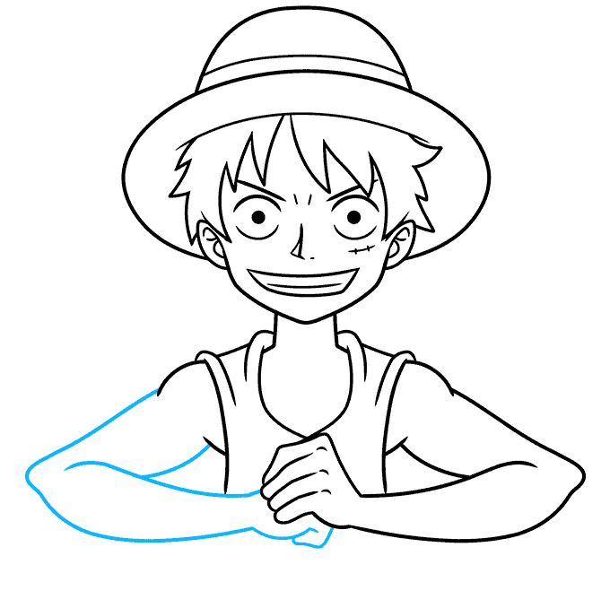 How to Draw Monkey D. Luffy from One Piece Step 08