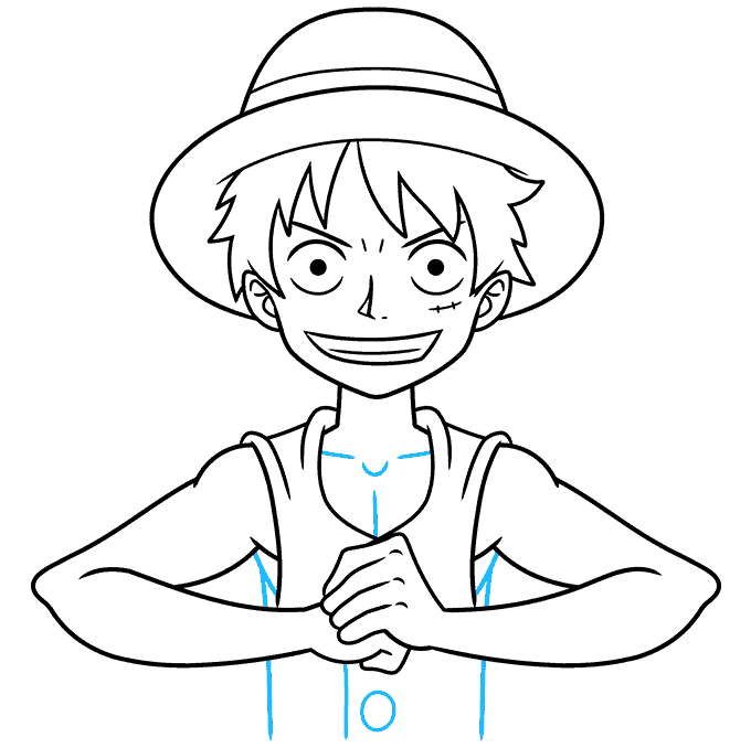 How to Draw Monkey D. Luffy from One Piece Step 09