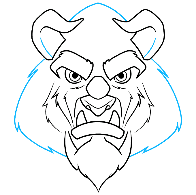 How to Draw the Beast from Beauty and the Beast Step 07