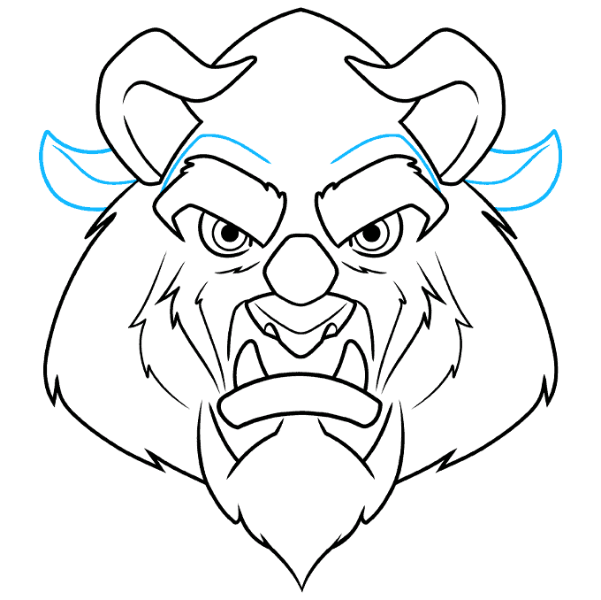 How to Draw the Beast from Beauty and the Beast Step 08