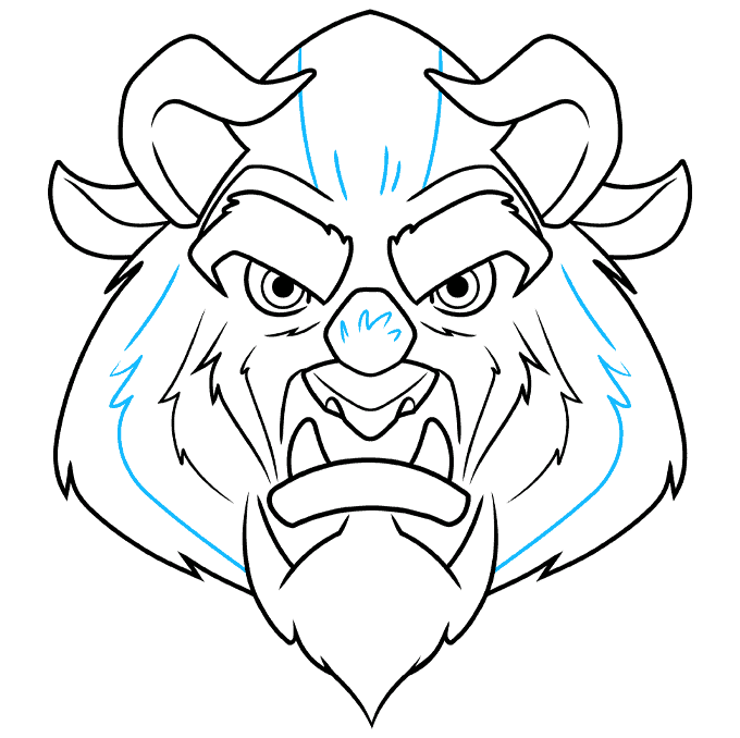 How to Draw the Beast from Beauty and the Beast Step 09
