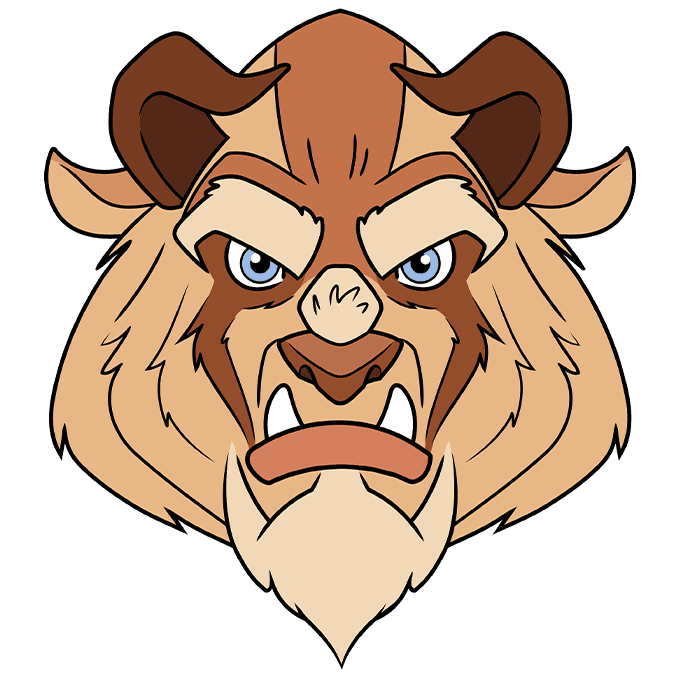 How to Draw the Beast from Beauty and the Beast Step 10