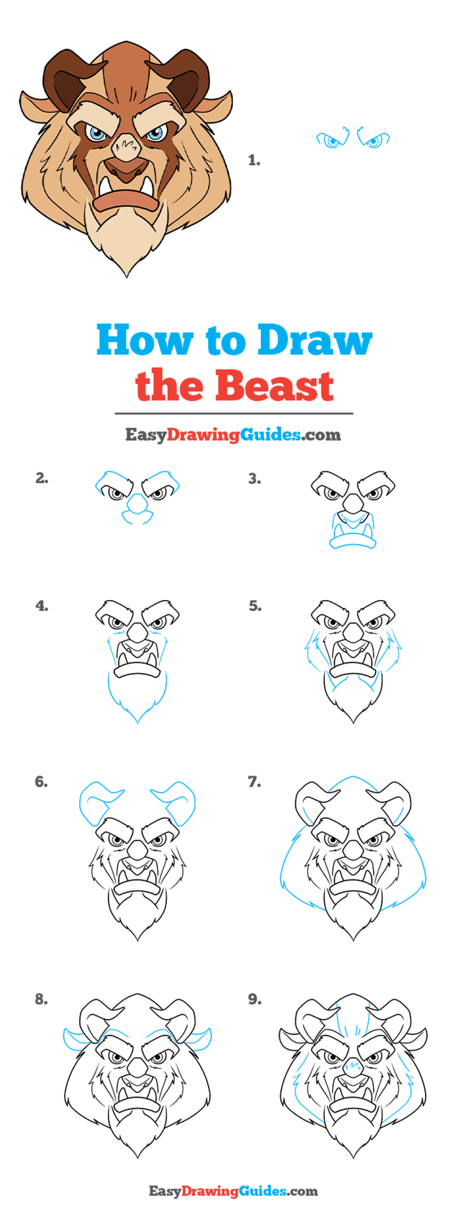 How to Draw the Beast from Beauty and the Beast Step by Step Tutorial Image