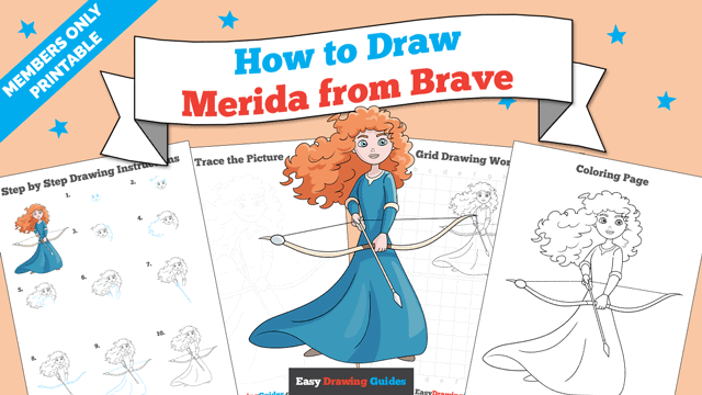 Printables thumbnail: How to Draw Merida from Brave