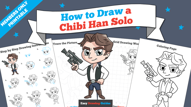 Printables thumbnail: How to Draw a Chibi Han Solo from Star Wars