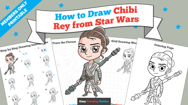 Printables thumbnail: How to Draw Chibi Rey from Star Wars